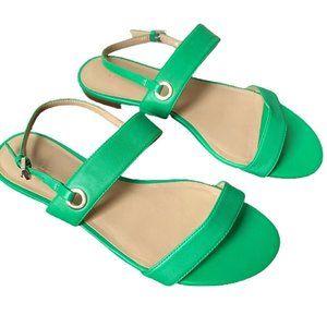 Talbots Green Leather Keri Double Strap Sandals